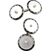 Vintage Enamel And Mother Of Pearl Double Sided Larter & Sons Cufflinks