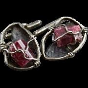 Vintage Handmade Mid Century Modernist Silver And Amethyst Cufflinks