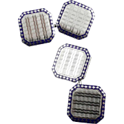Vintage Art Deco Enameled Double Sided Cufflinks