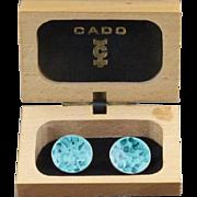 Vintage Modernist Blue Enamel Cufflinks By Cado Of England