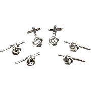 Vintage Sterling Silver Knot Cufflink And 4 Piece Shirt Stud Set By Walter E Hayward