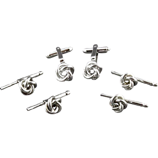 Vintage Sterling Silver Knot Cufflink And 4 Piece Stud Set By Walter E Hayward