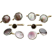 Vintage Larter & Sons Dark Mother Of Pearl Cufflink And 6 Piece Shirt Stud Set