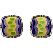 Vintage Mod Enamel Cufflinks By Lion Star