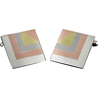 Vintage Mexican Sterling Silver Brass And Copper Mixed Metals Square Cufflinks
