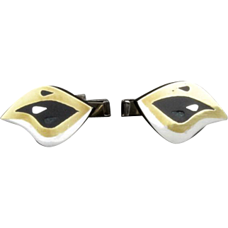 Vintage Mexican Sterling Silver And Brass Mid Century Modernist Cufflinks