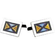 Vintage Mexican Sterling Mixed Metals And Enamel Cufflinks