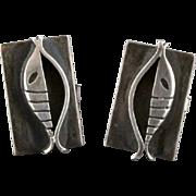 Vintage Paul Lobel Sterling Silver Mid Century Modernist Fish Cufflinks