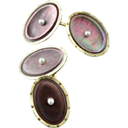 Vintage 14K Gold Dark Mother Of Pearl Cufflinks By Larter & Sons
