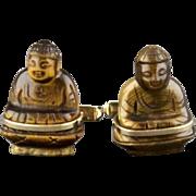Vintage 14 Karat Hand Carved Tiger Eye Buddha Cufflinks