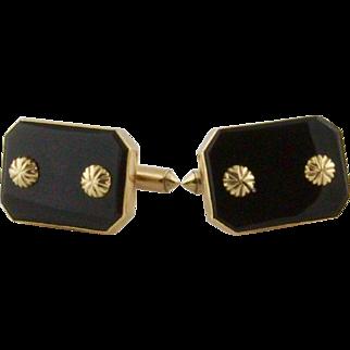 Vintage 14 Karat Gold And Black Onyx Cufflinks