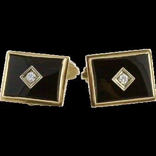 Vintage 10K Diamond And Onyx Art Deco Cufflinks By Esemco