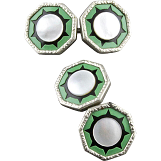 Vintage Art Deco Mother Of Pearl And Celluloid Double Sided Cufflinks