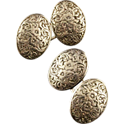 Vintage Victorian 14K Gold Oval Embossed Double Sided Cufflinks