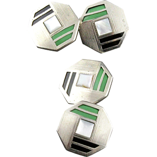Vintage Art Deco Mother Of Pearl And Celluloid Double Sided Cufflinks By Swank