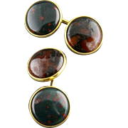 Vintage Genuine Bloodstone And Moss Agate Double Sided Cufflinks By Krementz