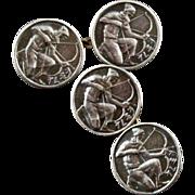 Vintage Silver Mythological Archer Double Sided Cufflinks
