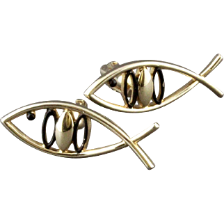 Vintage Christian Ithacus Jesus Fish Cufflinks By Swank