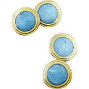 Vintage Art Deco Blue And Yellow Guilloche Enamel Double Sided Cufflinks