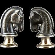 Vintage Three Dimensional Knight Chess Piece Cufflinks by Swank