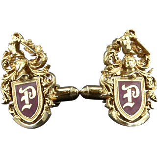 Vintage Family Crest Or Coat Of Arms Enameled Initial P Cufflinks