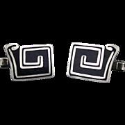 Vintage Margot de Taxco Sterling Silver And Black Enamel Cufflinks