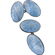 Vintage Art Deco Light Blue Guilloche Enamel Sterling Double Sided Cufflinks