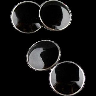 Vintage Art Deco Sterling Silver Black Enamel Double Sided Cufflinks
