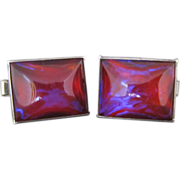 Vintage Sterling Silver Dragons Breath Jelly Opal Cufflinks
