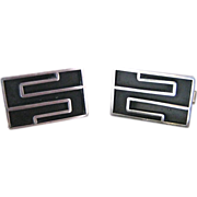 Vintage Sterling Silver Taxco Mexico Modernist Cufflinks