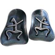 Vintage Mexican Sterling Silver Modernist Cufflinks By Beto