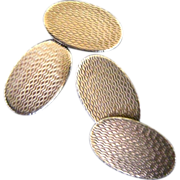Vintage 9K And Sterling Silver Art Deco Double Sided Oval Cufflinks
