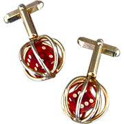 Vintage Red Lucite Dice Cufflinks