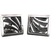 Vintage Sterling Silver Mid Century Modernist Textured Square Cufflinks