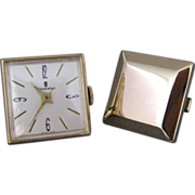 Vintage Working Windup Watch And Blank Cufflinks By Sovereign