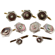 Vintage Larter & Sons Dark Mother Of Pearl Cufflink And 5 Piece Stud Set