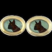 Vintage Reverse Cut Crystal Intaglio Boxer Dog Cufflinks By Foster