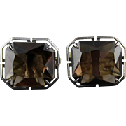 Vintage Smoky Brown Quartz And Sterling Silver Cufflinks