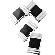 Vintage Art Deco Black And White Enamel Double Sided Cufflinks