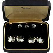 Vintage Krementz Grey Cufflink And 3 Piece Stud Set In Original Box