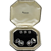 Vintage Krementz Dark Mother Of Pearl Cufflink And 3 Piece Stud Set In Original Box