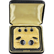 Vintage Swank Black Cufflink And 3 Piece Stud Set In Original Box