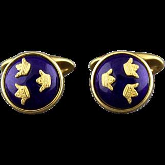 Vintage Sporrong & Co Three Crown Guilloche Enamel High Domed Cufflinks