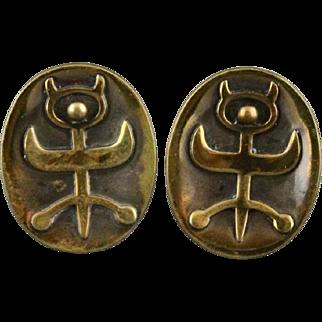 Vintage Hogan Bolas Figural Modernist Bronze Cufflinks