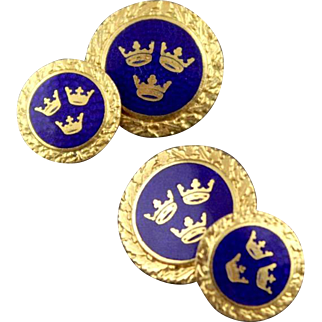 Vintage Art Deco Three Crown Guilloche Enamel Double Sided Cufflinks