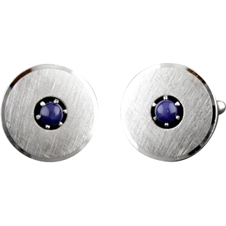Vintage Sterling Silver And Genuine Blue Star Sapphire Cufflinks By Anson
