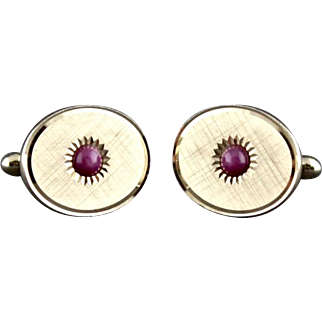 Vintage Genuine Pink Star Sapphire Cufflinks