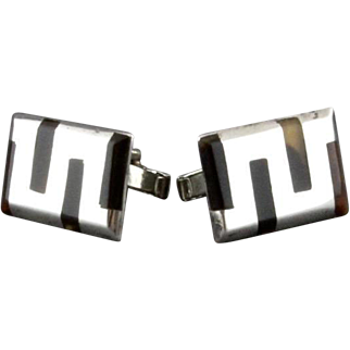 Vintage Mexican Sterling Silver And Tortoiseshell Cufflinks By Balderas