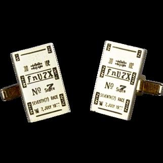 Vintage Horse Racing Tote Ticket Cufflinks