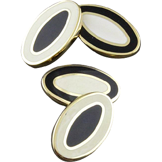 Black And White Enamel Double Sided Cufflinks